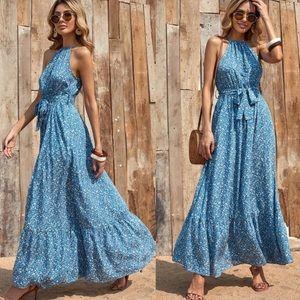 Boho floral print halter maxi dress